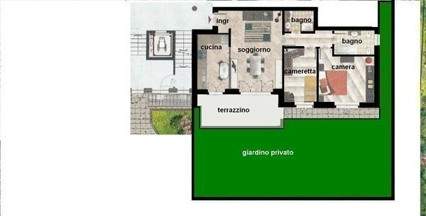 Rif. T388 MAGENTA TRILOCALE NUOVO + GIARDINO € 208.000